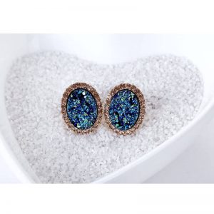 Blue Gold Oval Shaped Earring