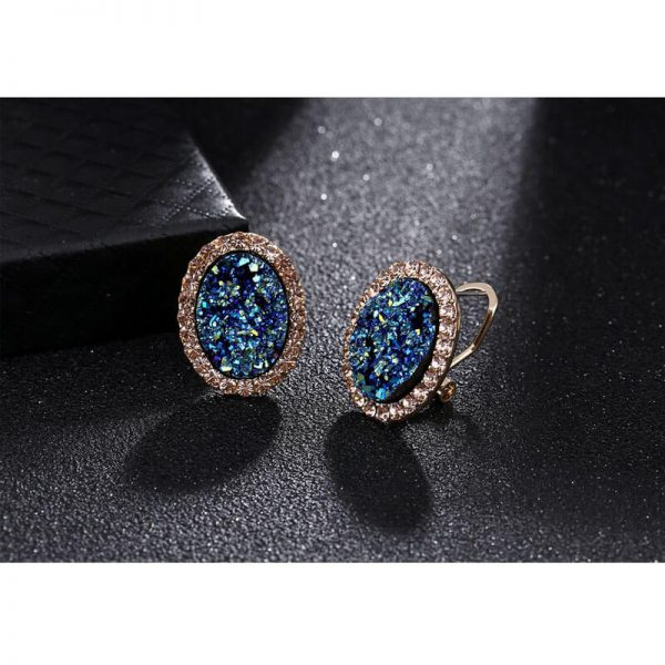 Blue Gold Oval Shaped Earring AE879-
