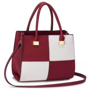 Burgundy white Fashion Tote Handbag