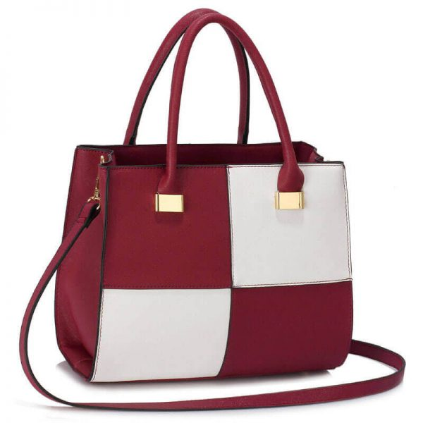 Burgundy white Fashion Tote Handbag – LS00153M_(1)