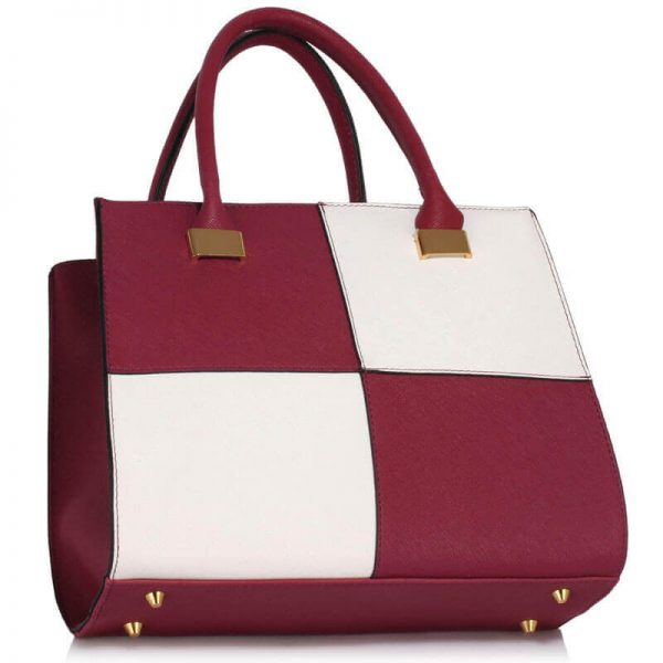 Burgundy white Fashion Tote Handbag – LS00153M_(2)