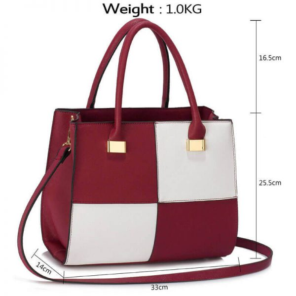 Burgundy white Fashion Tote Handbag – LS00153M_(4)