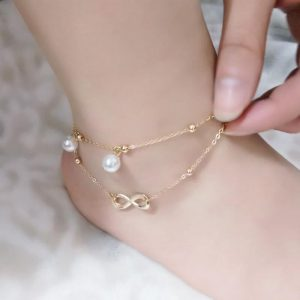 Gold Adjustable Chain Anklet Ladies Footwear