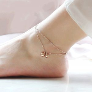 Gold Double Chain Anklet Adjustable ANK25