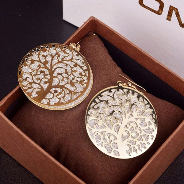 Gold Round Tree Earring AE80-