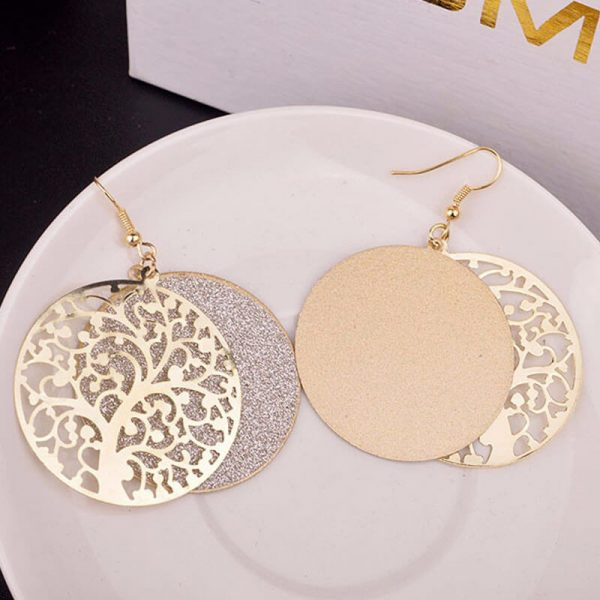 Gold Round Tree Earring AE80–