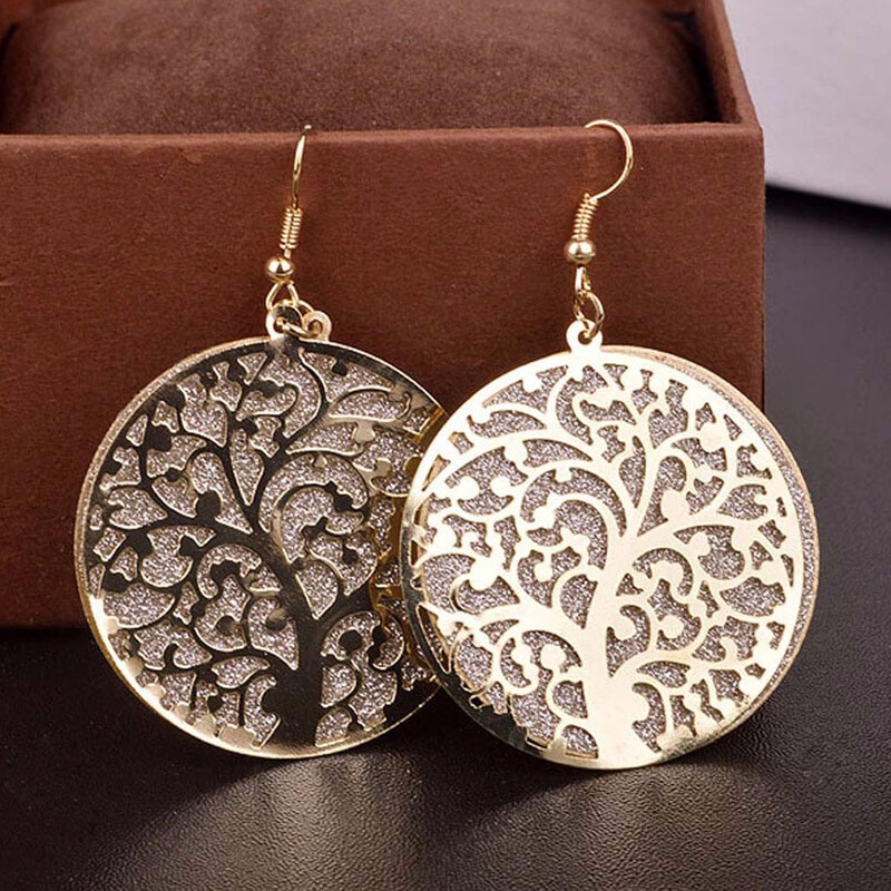 Gold Round Tree Earring