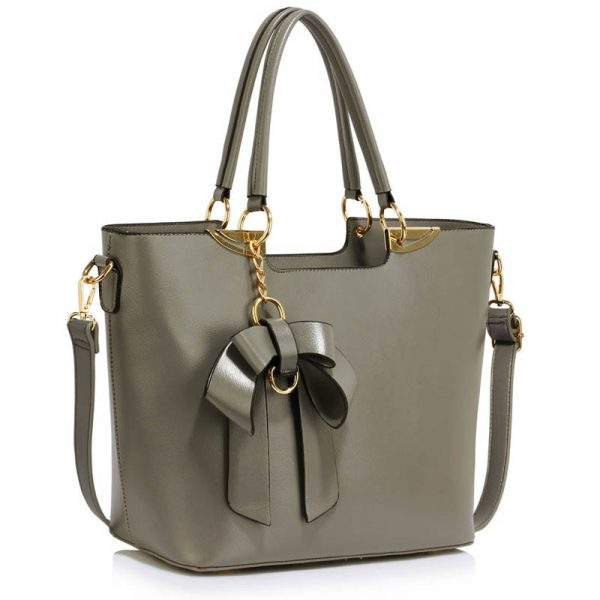 Grey Bow-Tie Shoulder Handbag – LS00348A