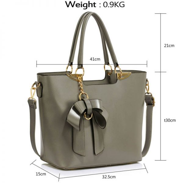 Grey Bow-Tie Shoulder Handbag – LS00348A_4_