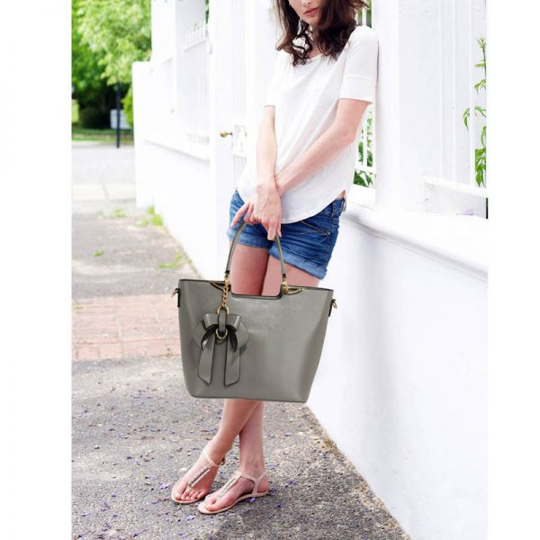 Grey Bow-Tie Shoulder Handbag – LS00348A_6_