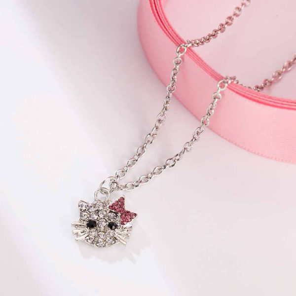 Kitty Necklace Siler – Pink AN94–