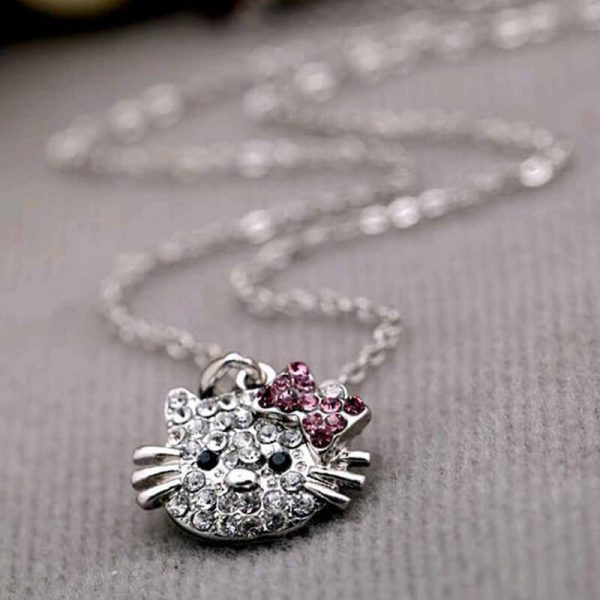 Kitty Necklace Siler – Pink AN94—