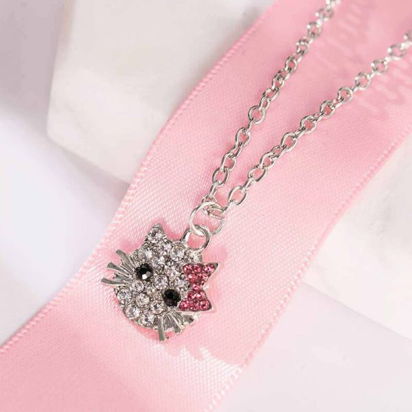 Kitty Necklace Siler – Pink AN94- (1)