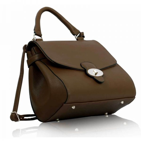 LS00107 Coffee Flap and Twist Lock Satchel_(3)