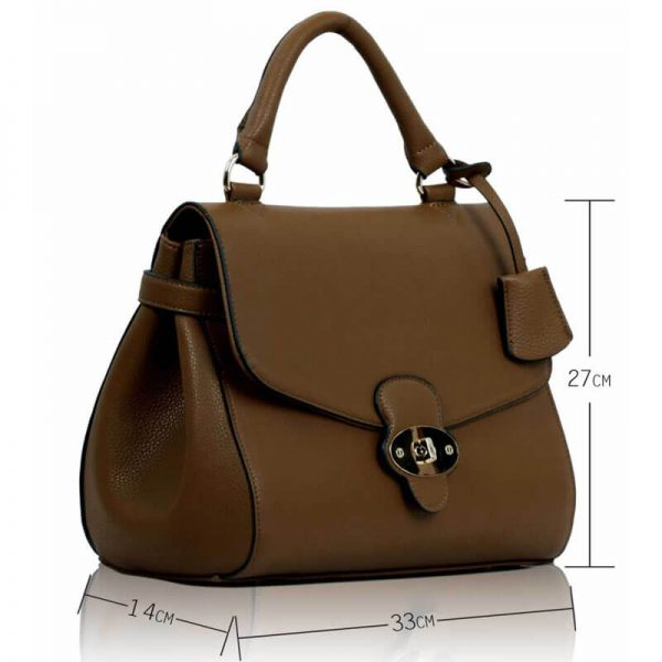 LS00107 Coffee Flap and Twist Lock Satchel_(4)