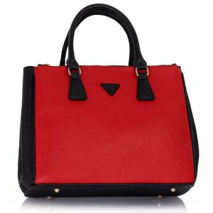 Grab Tote Handbag BLACK_RED