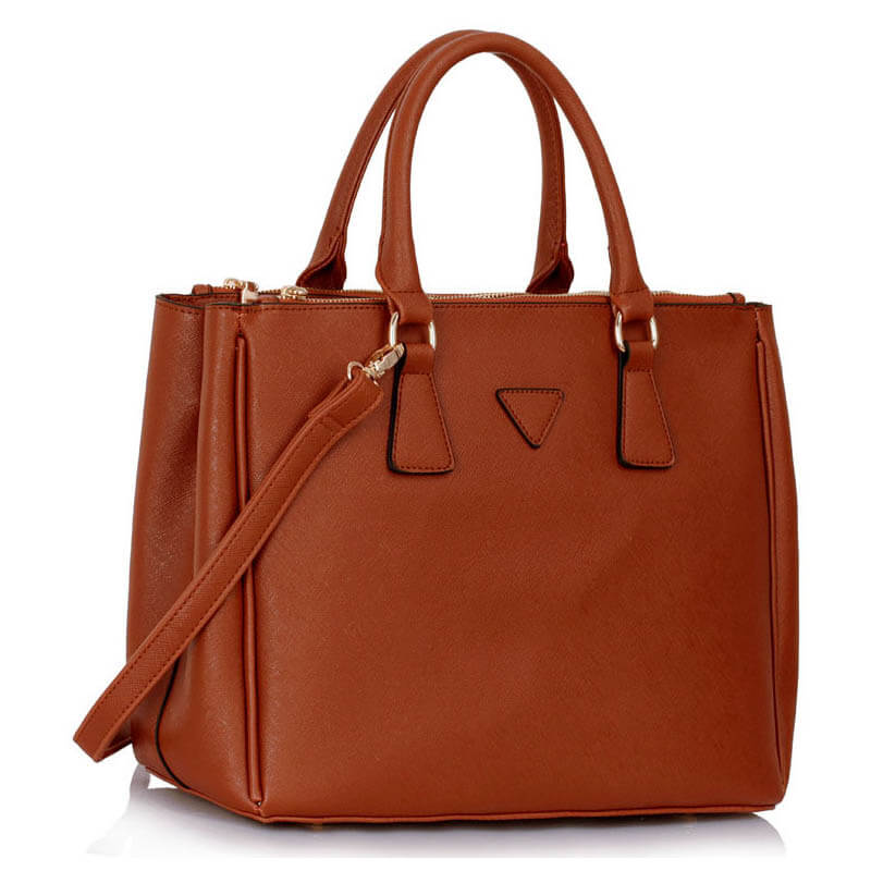 Grab Tote Handbag BROWN