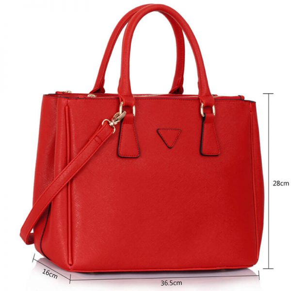 LS00260 Grab Tote Handbag Red(4)