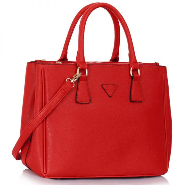 LS00260 Grab Tote Handbag Red_(3)