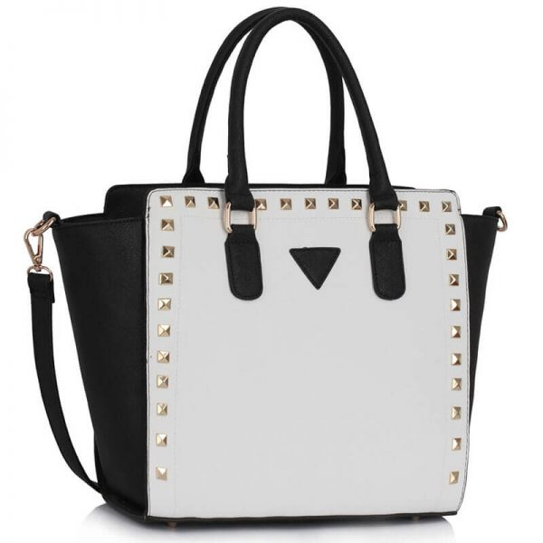 LS00287 – Black White Studs Decorated Tote Bag