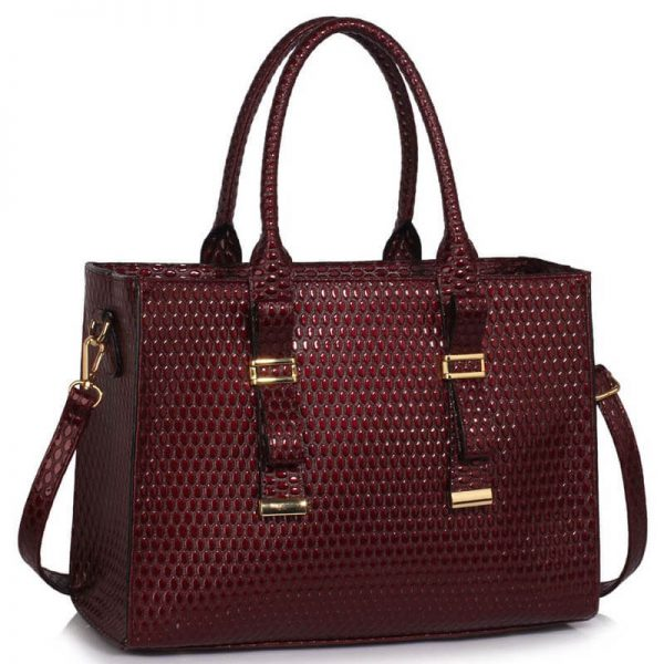 LS00310A – Burgundy Buckle Detail Tote Shoulder Bag