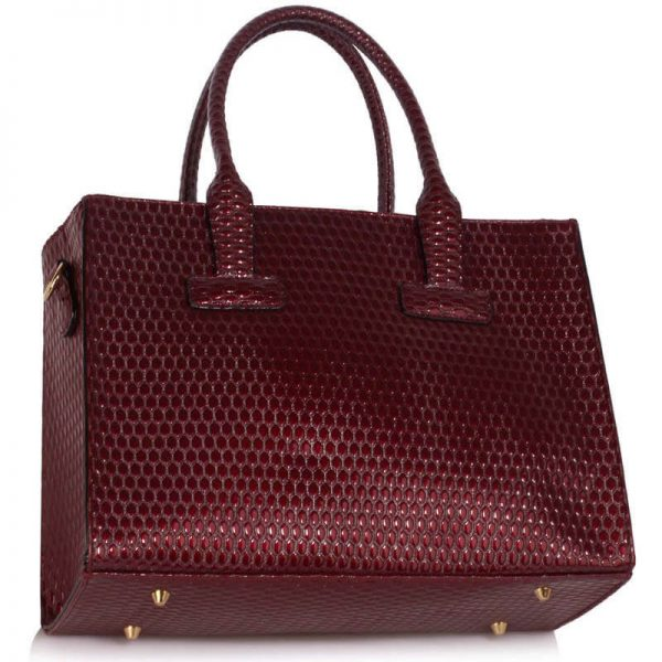 LS00310A – Burgundy Buckle Detail Tote Shoulder Bag_2-2