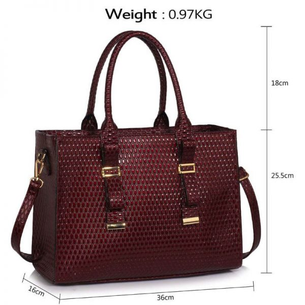 LS00310A – Burgundy Buckle Detail Tote Shoulder Bag_4-2