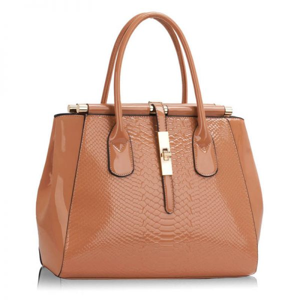 LS00320A- Dark Nude Twist Lock Frame Handbag _(1)