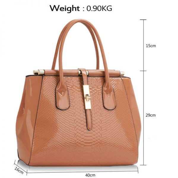 LS00320A- Dark Nude Twist Lock Frame Handbag_(4)