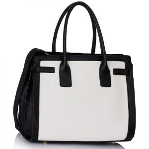 Black White Grab Tote Handbag