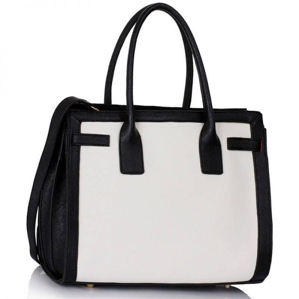 LS00325 – Black White Grab Tote Handbag