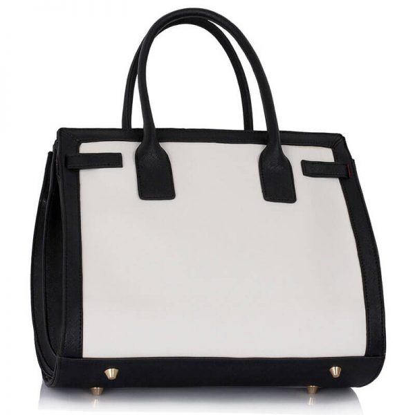 LS00325 – Black White Grab Tote Handbag_(2)