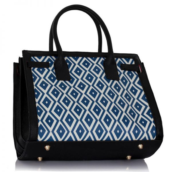 LS00325A – Black Blue Grab Tote Handbag2-1
