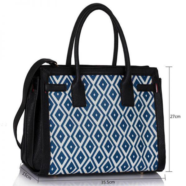 LS00325A – Black Blue Grab Tote Handbag4-1