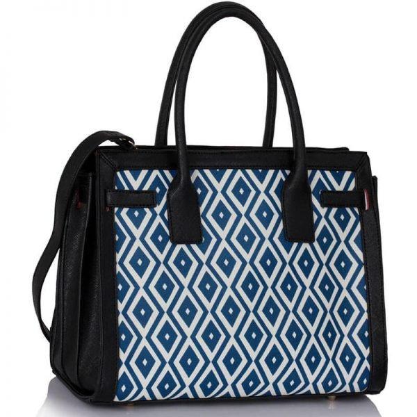 LS00325A – Black Blue Grab Tote Handbag_1-1