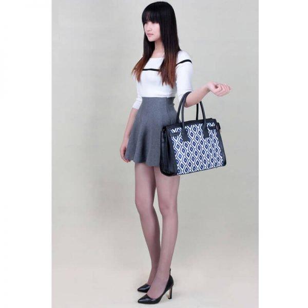 LS00325A – Black Blue Grab Tote Handbag_5-1
