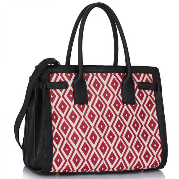 LS00325A – Black Red Grab Tote Handbag_1-1