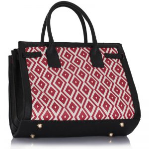 Black Red Grab Tote Handbag