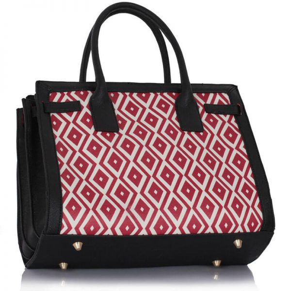 LS00325A – Black Red Grab Tote Handbag_2-1