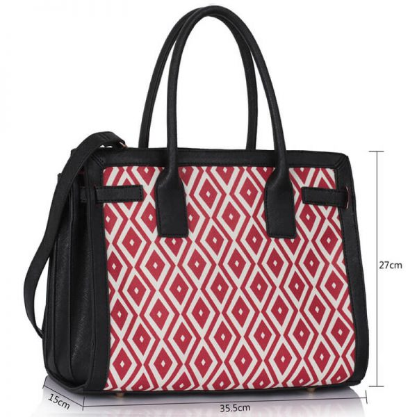 LS00325A – Black Red Grab Tote Handbag_4-1
