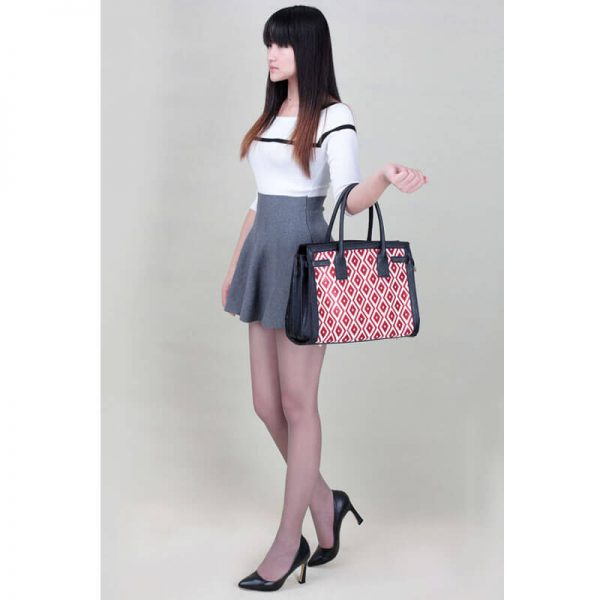 LS00325A – Black Red Grab Tote Handbag_5-1