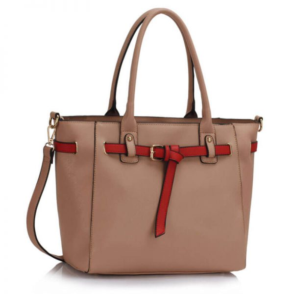 LS00330 Nude Tote Handbag Features Buckle Belts