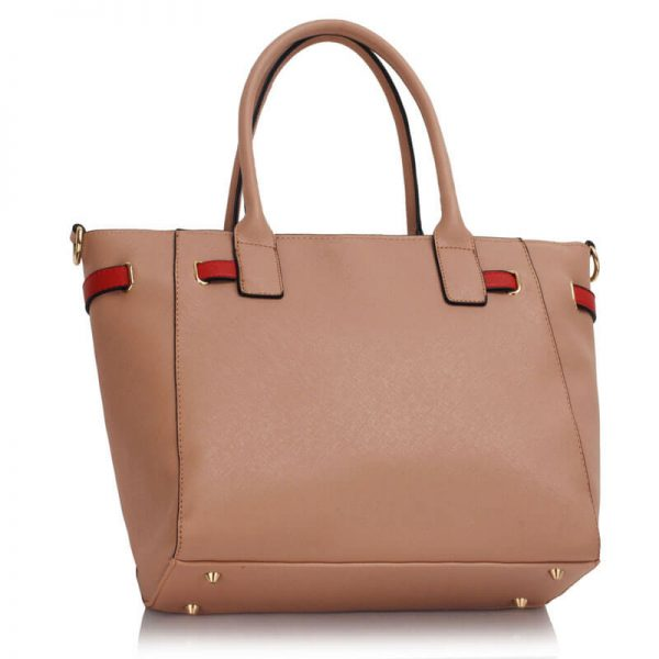 LS00330 Nude Tote Handbag Features Buckle Belts2-1