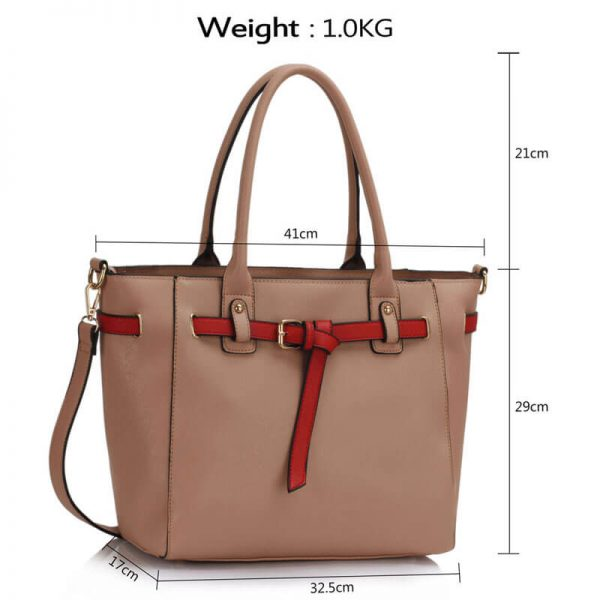 LS00330 Nude Tote Handbag Features Buckle Belts5-1