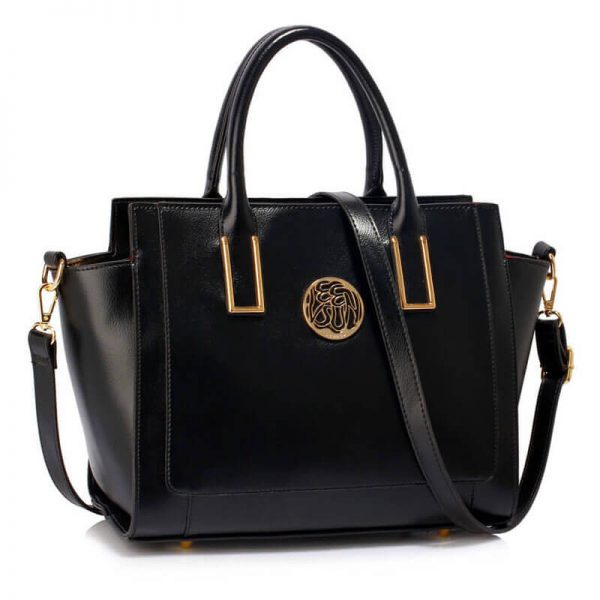 LS00338 Black Metal Detail Grab Tote Handbag_1_