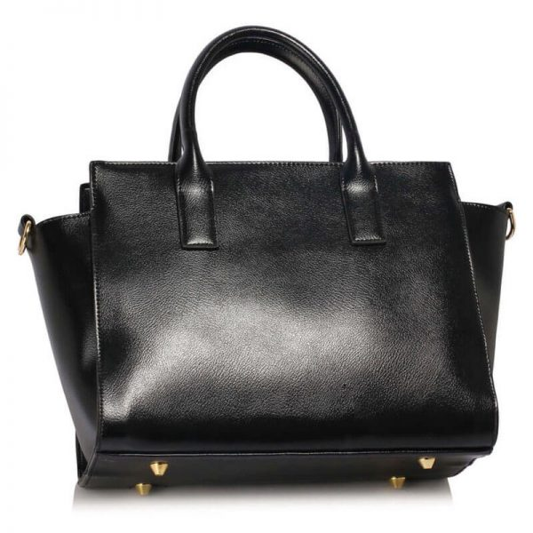 LS00338 Black Metal Detail Grab Tote Handbag_2_