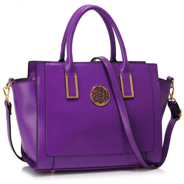 LS00338 Purple Metal Detail Grab Tote Handbag_1_