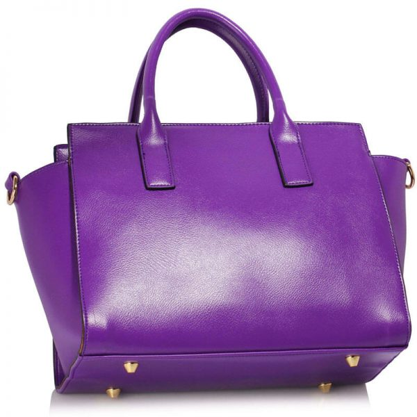 LS00338 Purple Metal Detail Grab Tote Handbag_2_