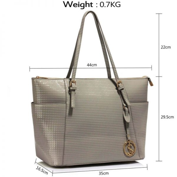 LS00350A – Grey Womens Large Tote Bag_4_