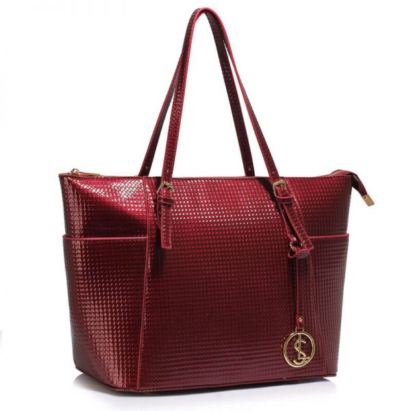 LS00350A – burgundy Womens Large Tote Bag_